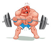 Muscle man, funny cartoon and vector character.