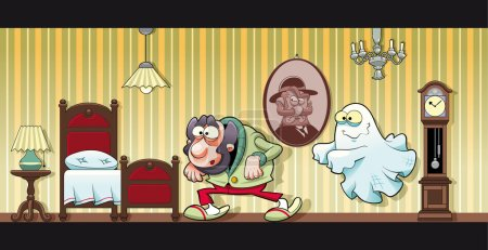 Haunted house. Funny cartoon and vector illustrati...