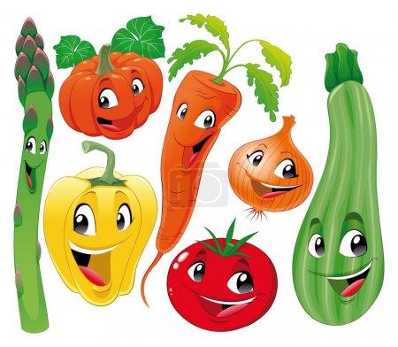 Illustration pour Famille des légumes. Drôle de dessin animé et de vecteur personnages isolés. - image libre de droit