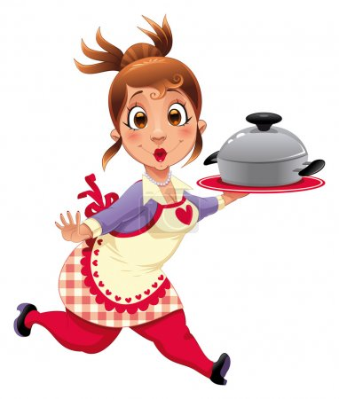 Illustration for Housewife with pot. Funny cartoon and vector character. - Royalty Free Image
