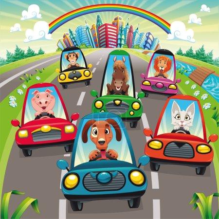 Illustration pour Trafic sur la route. Drôle de dessin animé et illustration vectorielle, objets isolés . - image libre de droit