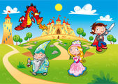 Medieval Age - Princess Prince Dragon Magician Funny cartoon illustration with background isolated objects