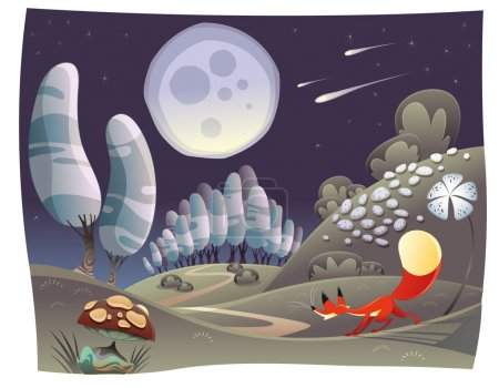 Illustration for Fox in the night. Funny cartoon and vector scene. - Royalty Free Image