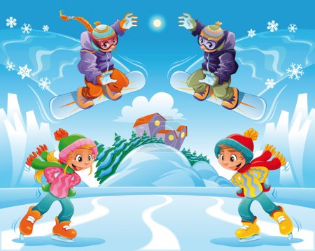 Illustration for Winter scene. Funny cartoon and vector illustration. - Royalty Free Image