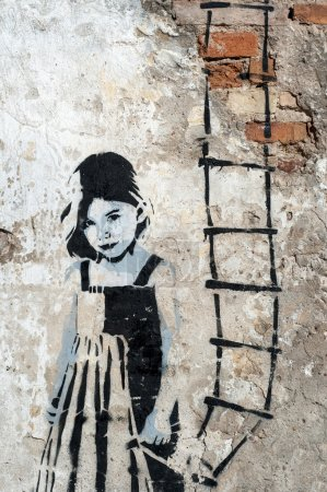 Little Girl with a ladder in her hand