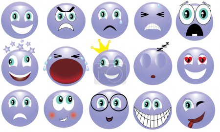 Illustration for Icon depicting the various emotions - Royalty Free Image