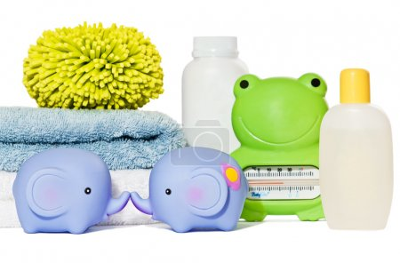 Baby bath accessories isolated: towels, toys, sponge, thermomete