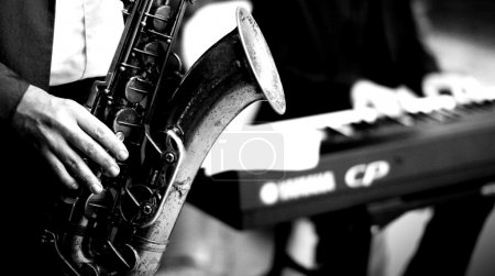 Photo for Man with sax , B&W conversion - Royalty Free Image
