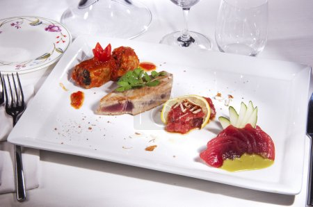 Prepared sea food Tuna ,Thorn, Salmon, decorated w...