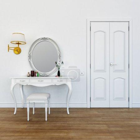 Photo pour Table à langer avec couleurs de maquillage - image libre de droit