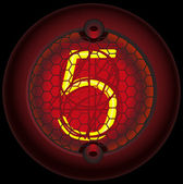 Digit 5 (five) Nixie tube indicator