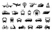 Icons of various means of transportation