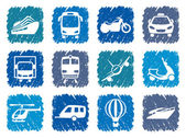 Simple images of types of transport