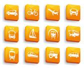 Simple images of types of transport on buttons