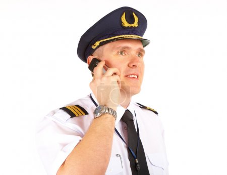 Airline pilot on the phone