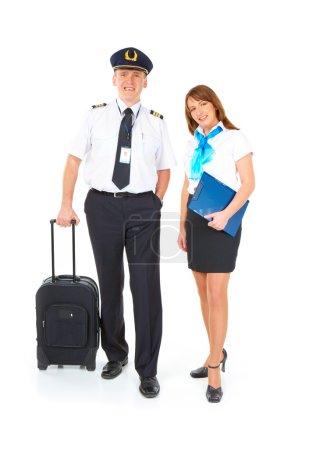 Flight crew with trolley