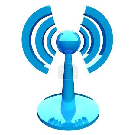 Photo pour Wifi (sans fil) icône moderne bleu isolé sur fond blanc - image libre de droit