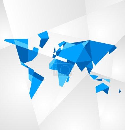 Facet world map vector