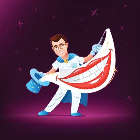 Illustration pour Magicien dentiste et le très beau sourire - image libre de droit