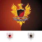 Phoenix bird vector in three color themes (full colour 2 colours 1 colour)