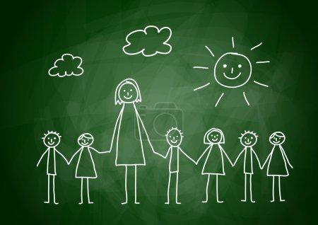 Illustration pour Enseignant avec enfants - image libre de droit