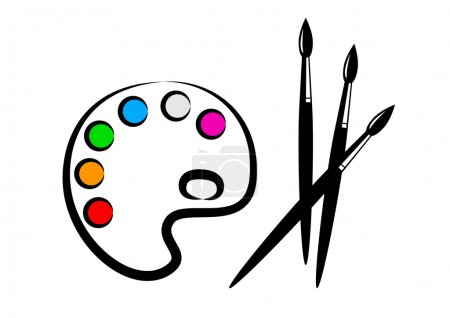 Illustration for Palette and brushes - Royalty Free Image