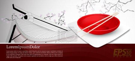 Illustration pour Nourriture chinoise Deux baguettes sur une assiette chinoise Illustration vectorielle facilement modifiable - image libre de droit