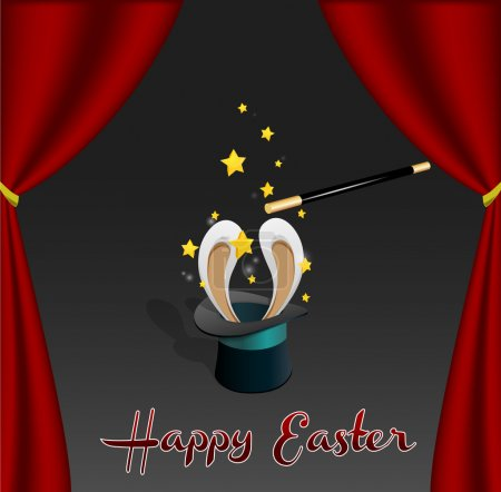Easter Card | Rabbit comes out from a Magic Hat | Editable Vector Illustration