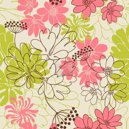 Illustration for Vector background with hand drawn flowers. (Seamless Pattern) - Royalty Free Image