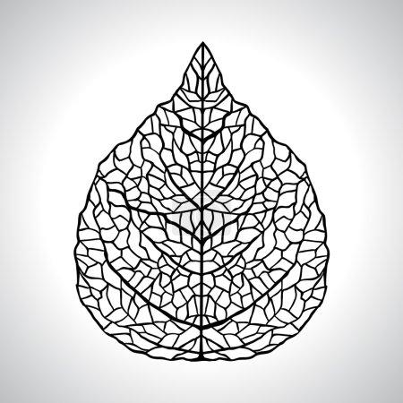 Illustration for Black macro leaf natural isolated. Vector illustration. - Royalty Free Image