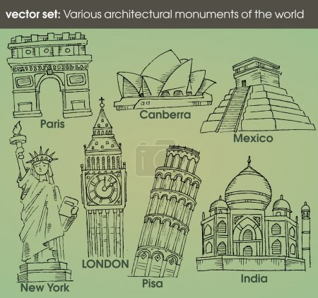 Set: various architectural monuments of the world