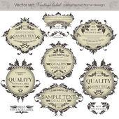 Vector set: vintage labels - inspired by floral retro originals