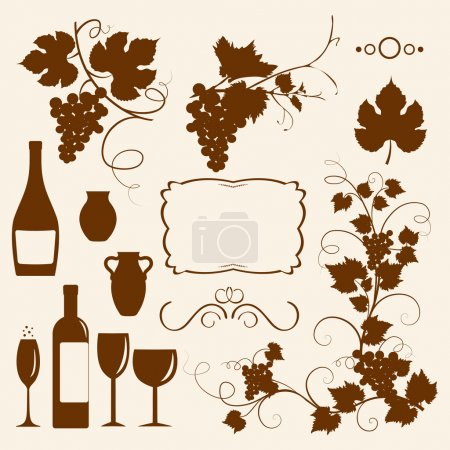 Winery design object silhouettes.