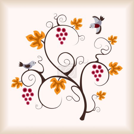 Elegance grape vine with flying birds.