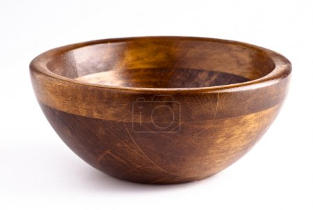 Photo for Manufactured wooden bowl empty. kitchen utensil - Royalty Free Image