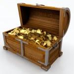 Treasure chest full of golden coins on white backg...