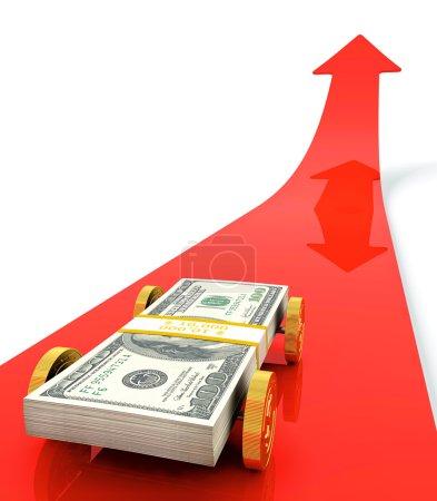 Photo pour Voiture en dollar sur flèche rouge - image libre de droit