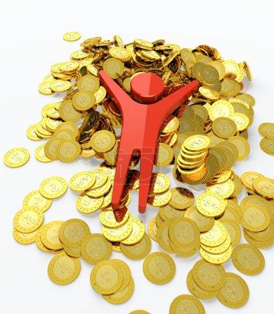 Photo pour Rouge figure humaine baignade dans le tas d'argent - image libre de droit