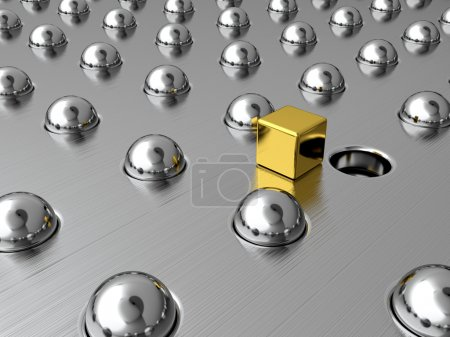 Photo pour Cube d'or parmi les sphères d'argent. Symbole d'unicité - image libre de droit