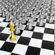 Golden chess king leading silver pawns...