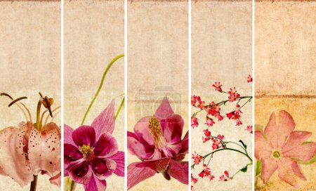 Lovely set of banners with floral elements and earthy textures