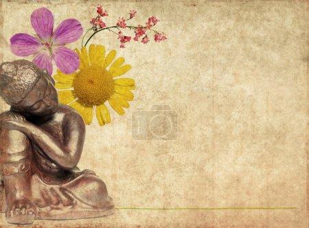 Photo pour Image de fond avec bouddha et éléments floraux - image libre de droit