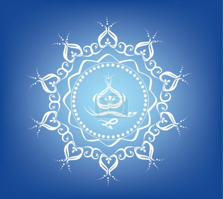 Illustration for White decoration ornaments on the blue background - Royalty Free Image