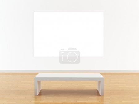 Foto de Renderizado 3D de una pared de la galería de arte y de banco - Imagen libre de derechos