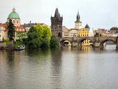 Prague and Vltava at twilight