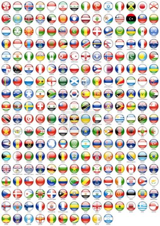 Flags of the countries round the world in the form of