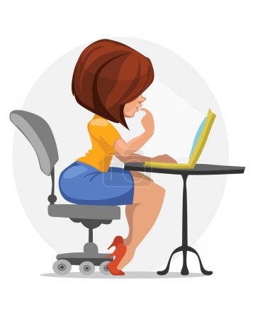 Girl Sits At A Laptop