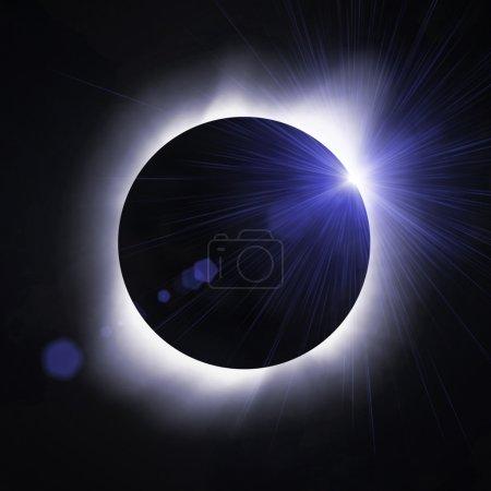 Photo pour Éclipse de soleil avec flare de soleil - image libre de droit