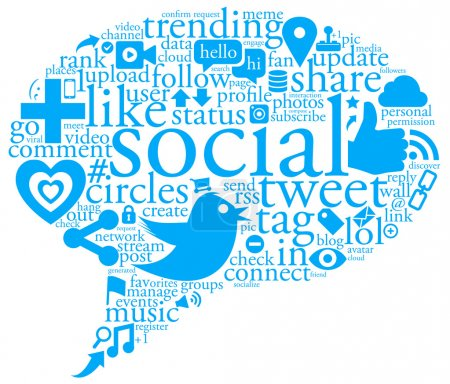 Photo for An illustration of a collage of social network buzz words and icons forming the shape of a talk bubble - Royalty Free Image