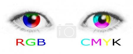 Photo pour Roues de couleur CMJN et RVB dans les yeux de l'homme - illustration image bitmap - image libre de droit